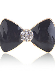 Lureme®Gold Plated Alloy Acrylic Zircon Bowknot Pattern Ring(Assorted Colors)