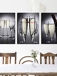 bebida estilo moderno reloj de pared floral en lona 3pcs