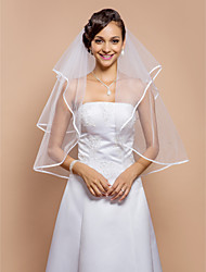 Wedding Veil Two-tier Elbow Veils Ribbon Edge 31.5 in (80cm) Tulle White WhiteA-line, Ball Gown, Princess, Sheath/ Column, Trumpet/