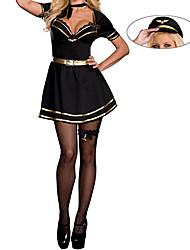 Sexy Girl Black Dress Flight Attendant Costume