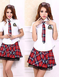 Preppy Look White Shirt Red Check Pattern Skirt School Girl's Uniform