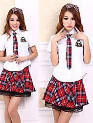 Uniforme formal Olha camisa branca Red padrão de verificação saia Escola de menina