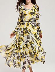Women's Holiday Swing Dress,Print Round Neck Midi Summer