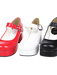Lolita Shoes Classic/Traditional Lolita Handmade High Heel Shoes Solid 7.5 CM Black White Red For PU Leather/Polyurethane Leather