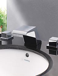 Modern Chrome Finish Designer Spout Waterfall Bathroom Sink Faucet