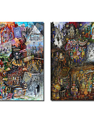 Stretched Canvas Art People Dickens and A Christmas Carol by Bill Bell Set of 2