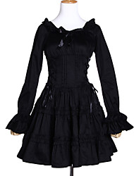 Long Sleelve Knee-length Black Cotton Classic Lolita Dress