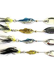 pesca de 3 ganchos con brillante señuelo de metal en forma de pez (6 g, 11 g, 15 g, 20 g)