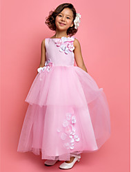 A-line Princess Ankle-length Flower Girl Dress - Satin Tulle Jewel with Beading Flower(s)