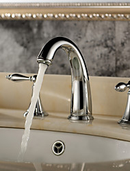 Classic Brass Bathroom Sink Faucet (Widespread)