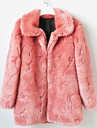 Thick manga comprida abertura Collar Faux Fur Festa / Coat (mais cores) Casual