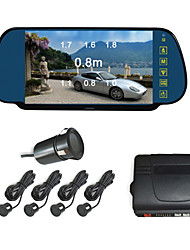 Car Rearview Mirror with 7 Inch LCD Screen Camera Parking 4 Radar Parking Sensors (Buzzer Alarm)