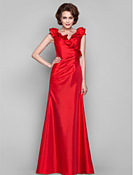 Dress - Ruby Sheath/Column V-neck Floor-length Taffeta