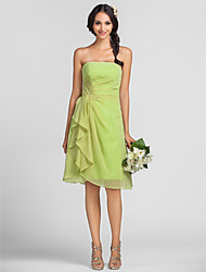 Lanting Knee-length Chiffon Bridesmaid Dress - Lime Green Plus Sizes / Petite Sheath/Column Strapless