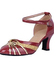 Customizable Women's Dance Shoes Modern/Ballroom Leatherette Customized Heel Silver/Gold