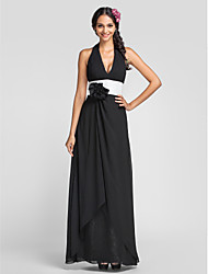 Dress - Black Sheath/Column Halter/V-neck Floor-length Chiffon
