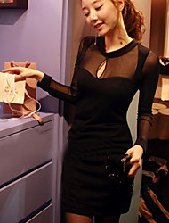 Women's Solid Black Dress , Party/Bodycon/Sexy Deep V/Round Neck Long Sleeve Mesh