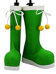 Fairy Battle Green PU-Leder Flache Damen Stiefel