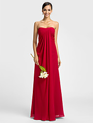 Bridesmaid Dress Floor Length Chiffon Sheath Column Sweetheart Dress (605505)
