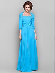 Gaine / colonne sweetheart manche en mousseline de soie mère de la robe de mariée avec fleur (s) en perles