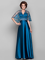 Dress - Ink Blue Sheath/Column V-neck Sweep/Brush Train Lace/Stretch Satin