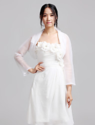 Wedding  Wraps Coats/Jackets 3/4-Length Sleeve Organza White Wedding / Party/Evening / Casual T-shirt Open Front