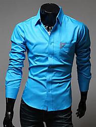 Вскользь голубой RR ПОКУПАТЬ Человек Кнопка украшать Карманный футболка с длинным рукавом