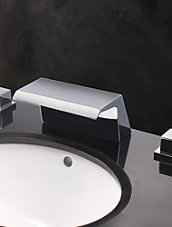 Contemporary Designer Wide Spout Waterfall Bathroom Sink Faucet
