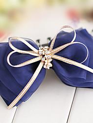 Navy Organza Champagne Ribbon 12.5cm Bow Classic Lolita Barrette
