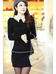Women's Crochet Collar Waist Zipper Long Knitwear