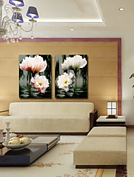 Stretched Canvas Art Botanical Flowers in the Water Set of 2