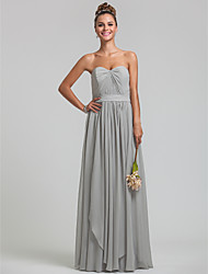 Floor-length Chiffon Bridesmaid Dress - Silver Plus Sizes / Petite Sheath/Column Sweetheart