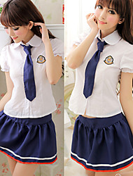 Innocent Girl White Top Ink Blue Polyester Skirt School Uniform