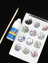 12 cores Acrílico Nail Art Decoração Pedrinhas com cola Stick (cor aleatória)
