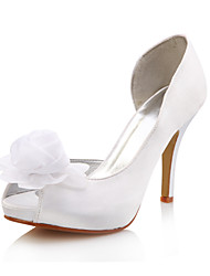 Women's Wedding Shoes Peep Toe Heels Wedding White