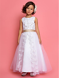 A-line Princess Ankle-length Flower Girl Dress - Satin Tulle Jewel with Lace Pearl Detailing Sequins