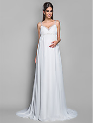 Sheath/Column Maternity Wedding Dress - Ivory Sweep/Brush Train Spaghetti Straps Chiffon