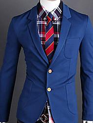 Men's Solid Casual Blazer,Cotton Blend / Knitwear Long Sleeve Blue / Gray