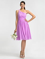 Homecoming Bridesmaid Dress Knee Length Chiffon Sheath Column One Shoulder Dress