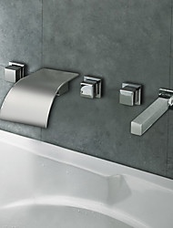 Chrome Finish Curve Waterfall Bathroom Tub Faucet
