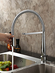 Contemporary Pull-out/­Pull-down Deck Mounted Pre Rinse with  Ceramic Valve Single Handle One Hole for  Chrome , Kitchen faucet