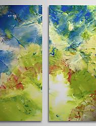 Peint à la main Peinture à l'huile abstraite avec cadre étiré Lot de 2 1308-AB0724