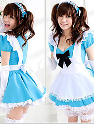 Cute Girl White Apron Blue Dress Maid Uniform