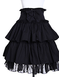 High-waisted Short Black Cotton Gothic Lolita Skirt