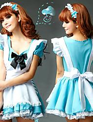 Costumes de Cosplay Uniformes Fête / Célébration Déguisement Halloween Blanc / Bleu Ciel Robe / Casque / TablierHalloween / Carnaval /