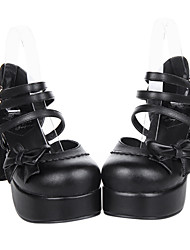 Black Belt Buckle Strap PU Leather 8cm High Heel Punk Lolita Sandals with Bow