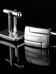groomsman presente projeto simples prata abotoaduras personalizado