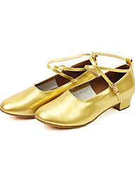 Non Customizable Women's/Kids' Dance Shoes Modern/Ballroom/Practice Shoes Leatherette Chunky Heel Silver/Gold