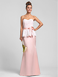 Floor-length Sweetheart Bridesmaid Dress - Vintage Inspired Sleeveless Lace Satin