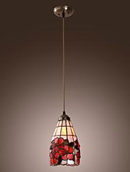 40W Tiffany Pendant Light com Sombra Vitral em Design Floral